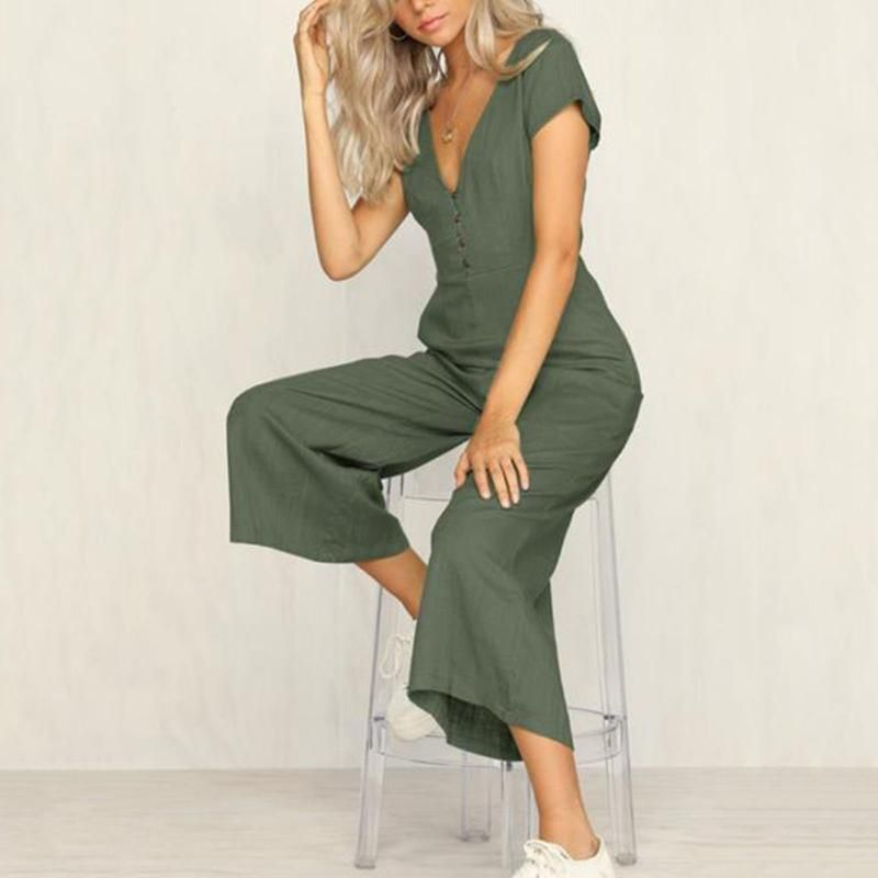 296d640a6b9a Casual Loose V-neck Button Jumpsuit