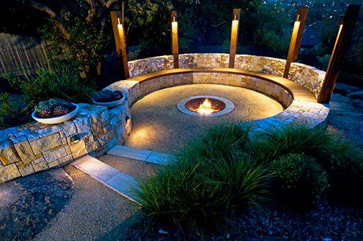 astounding garden seating ideas native design | Joanne Green | Outdoor pergola, Garden fire pit, Backyard