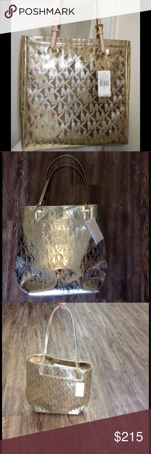 """Michael Kors Jet Set Chain Gold Metallic Purse NWT This bag screams designer!! Perfectly trendy for everyday carry!!  ****COVER PHOTO IS FOR EXAMPLE!! Purse has half chain straps not full leather straps!! Please refer to pictures!****           Dimensions: 12.75""""x14.5""""     Strap Length: 11"""" Michael Kors Bags Totes"""