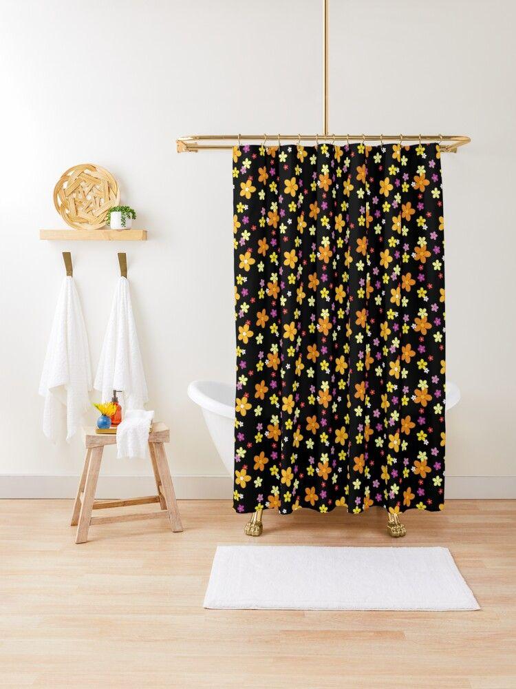 Retro Flowers Design Shower Curtain By Torlei565 Retro Blumen