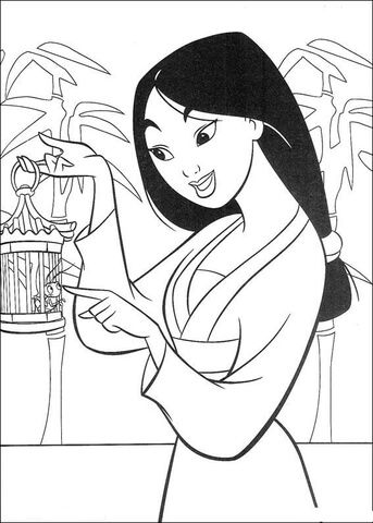 Fa Mulan Is Talking With Her Bug Coloring Page Disney Coloring