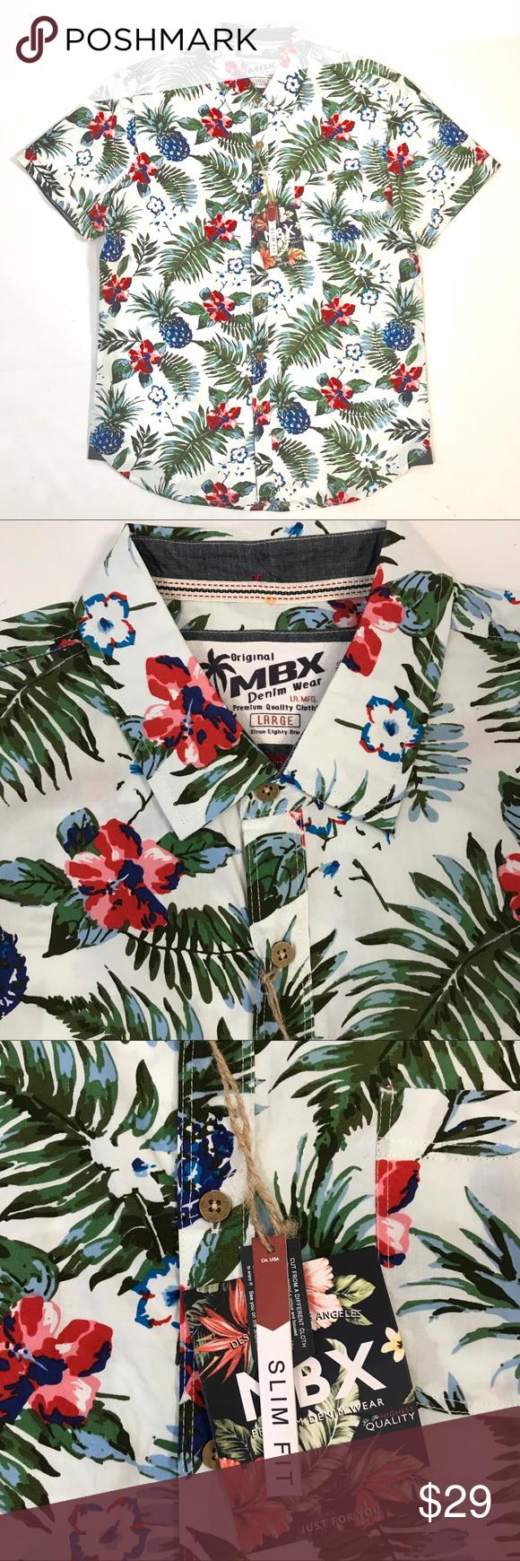 59eaa46c MBX Denim Wear Hawaiian Slim Fit Shirt Green/Pink MBX Denim Wear Mens  Tropics Hawaiian