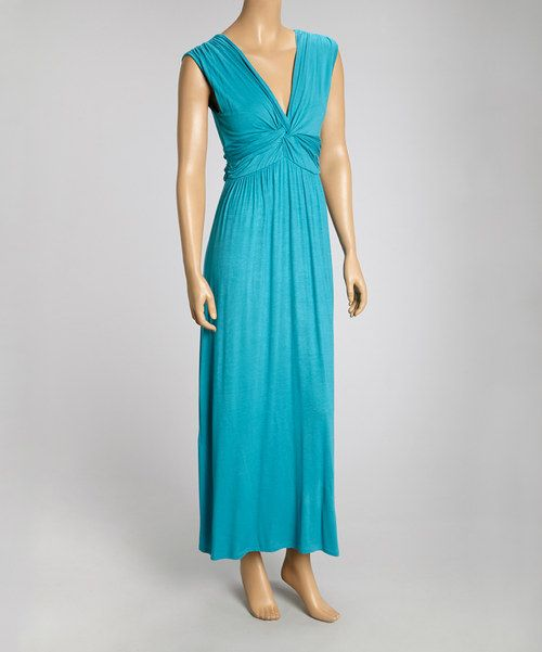 Take a look at the Turquoise Twist V-Neck Maxi Dress on #zulily today!