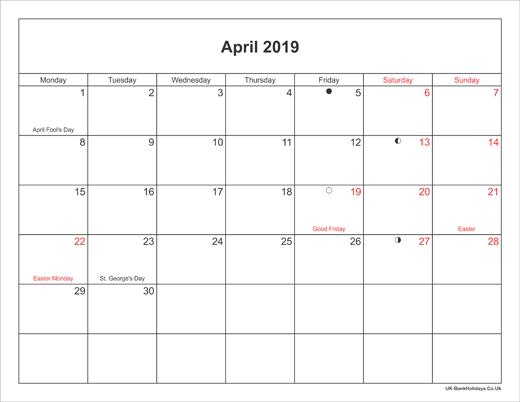 Printable April 2019 Holidays Calendar | Moon phase ...