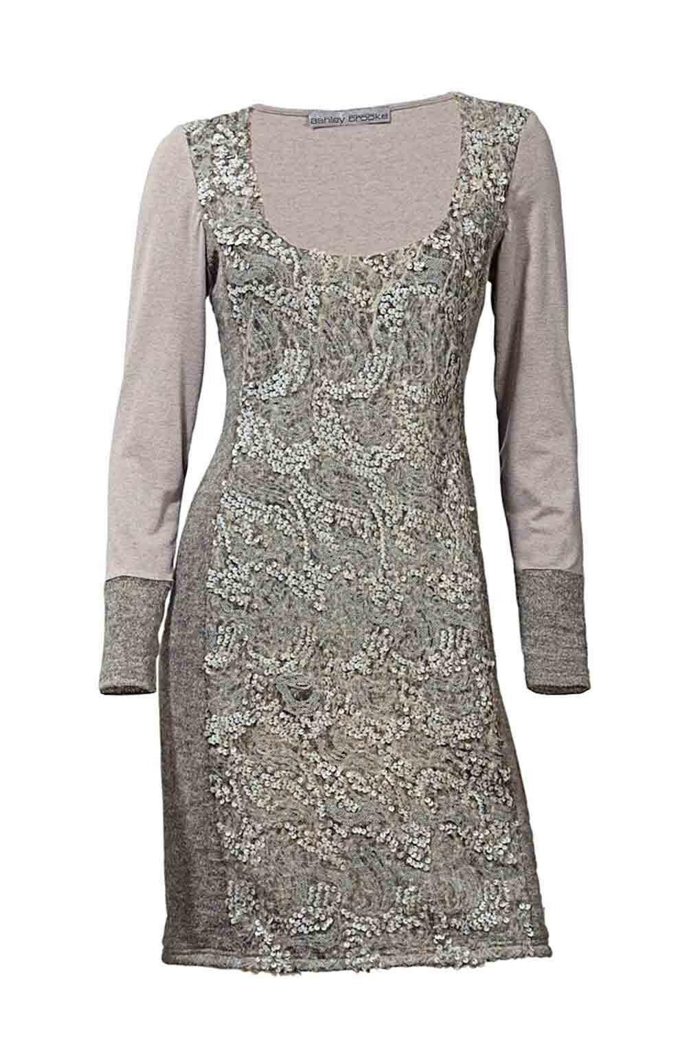 C.M. Schönes Designerkleid/Kleid von ashley brooke Gr. 14 taupe