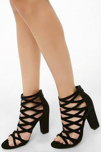 707011d4367 Caged Velvet Block Heels