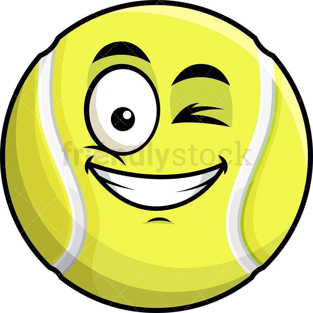 Winking And Smiling Tennis Ball Emoji Cartoon Clipart Vector Friendlystock Cartoon Clip Art Emoji Emoji Clipart