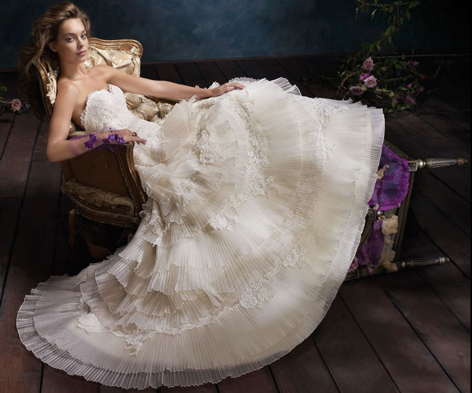 Ivory Tiered Pleated Silk Organza Bridal Ball Gown Alencon Lace Bodice With Sweetheart Neckline