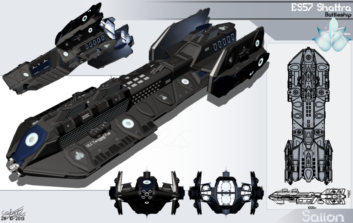 Model: ES57 Shattra Type: Battleship Manufacturer: Saiion Vessels Crew: 706 Armaments: 5 Heavy MACs 8 High-Density 'Fire Spirit' Laser turrets 4 Heavy Hammer Turrets 6 Hammer Turrets 17 Heavy Javel...