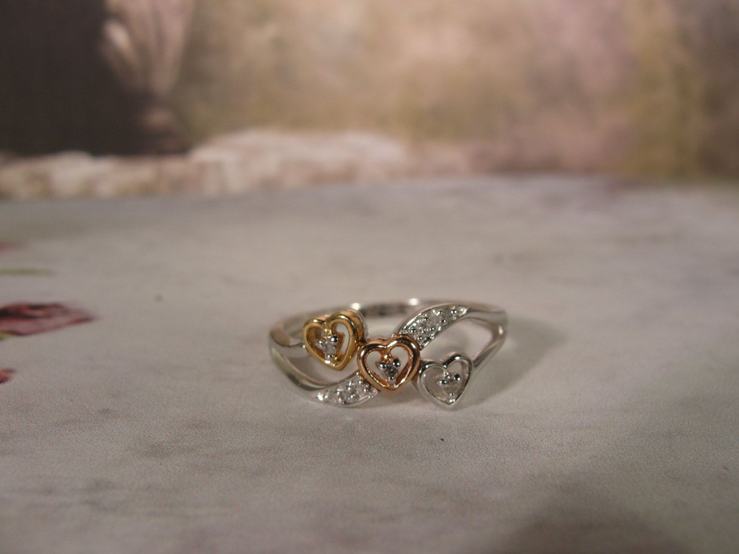 87d5e894c 10K SUN 3 Heart Promise or Pre-Engagement Ring with Yellow, Rose and White  Gold Hearts 9 Small Diamond Accent Stones Prong Set – Size 7 by ...
