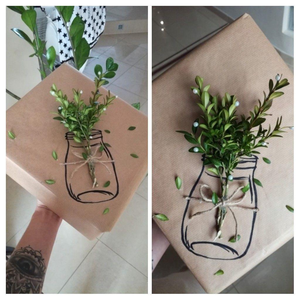 Prezent Na Parapetowke Gra Planszowa Kwiaty W Sloiku Szary Papier Pakowanie Prezentow Diy Home Diy Diy Projects