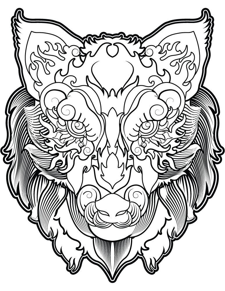 T te de loup coloriage magnifique image imprimer gratuit - Image d animaux gratuit ...