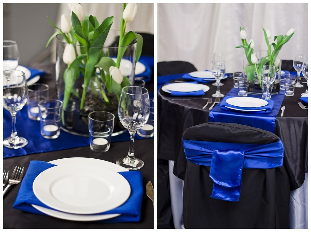 Blue And Black Table Cloths Black Table Overlay Royal