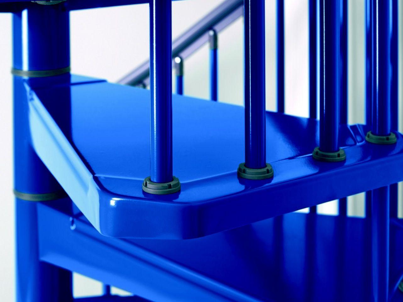 Blue cobalt metallic stairs.