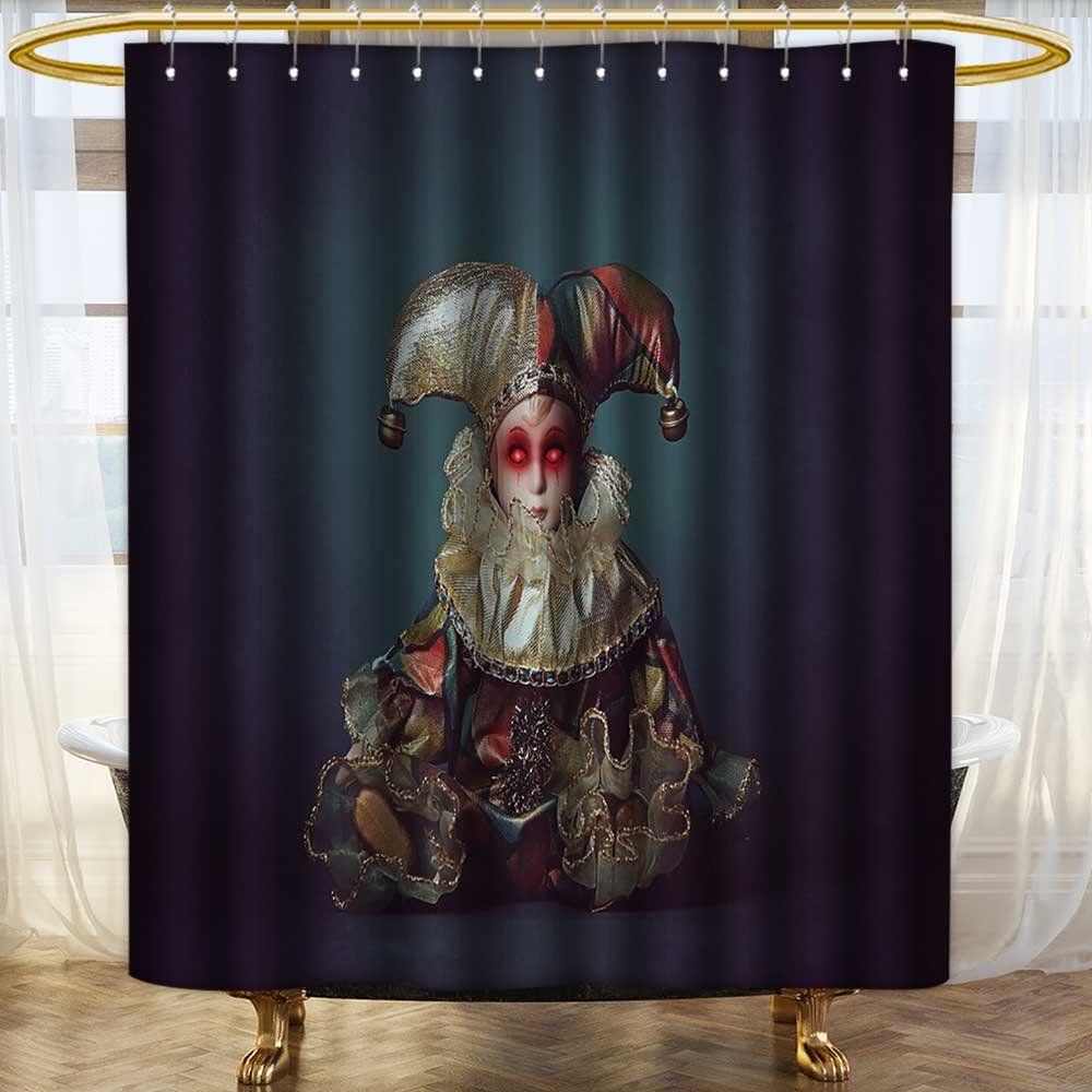 Printsonne Bathroom Shower Curtain Bath Decor Scary Clown Doll
