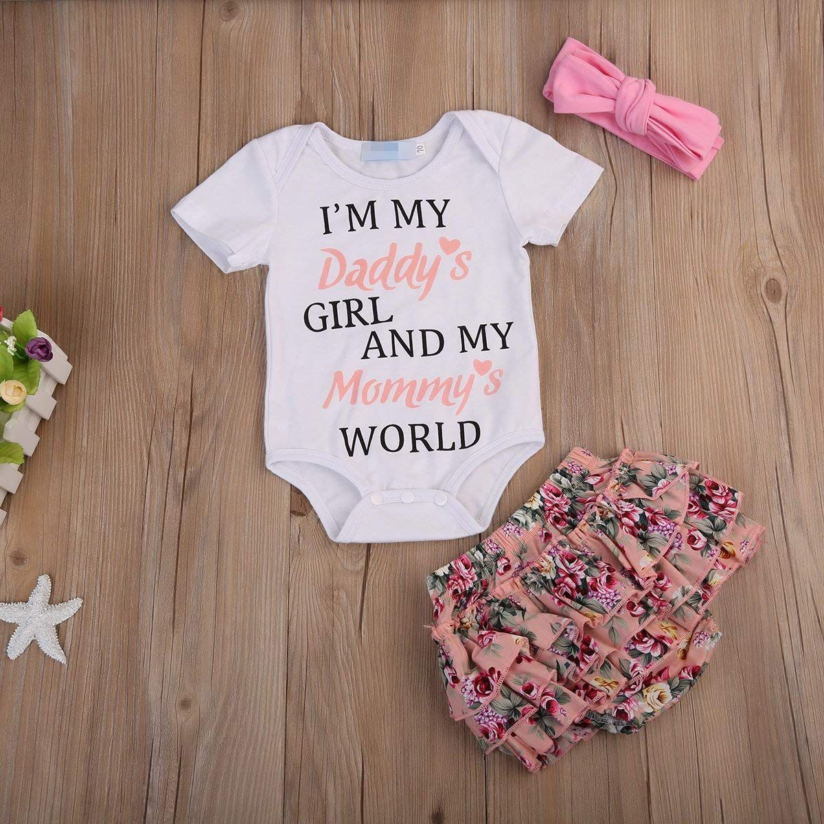 fc707e511f8 I m my Daddy s Girl and My Mommy s World! Newborn Baby Girls Clothes Letter  Rompers Floral Ruffel Pants Shorts Headband 3PCS Outfits Set