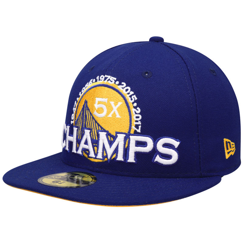 the best attitude 3b33b ce3d4 Golden State Warriors New Era NBA Champions Warriors 5-Time 59FIFTY Fitted  Hat – Royal