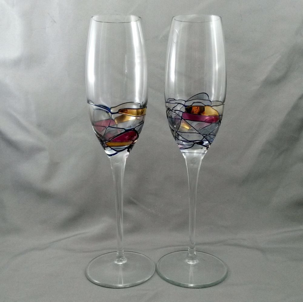 Pair Romanian Crystal Milano Champagne Flutes Swirl Stained Gl W Gold 8 Oz