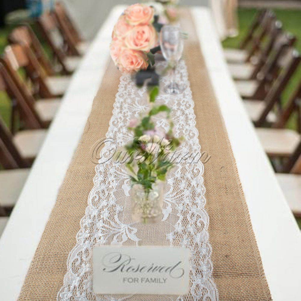 10x Chirstmas Jute Burlap Table Runners Wedding Party Dining Room Table Decor Lace Table Runner Wedding Table Runners Wedding Burlap Table Runners Wedding