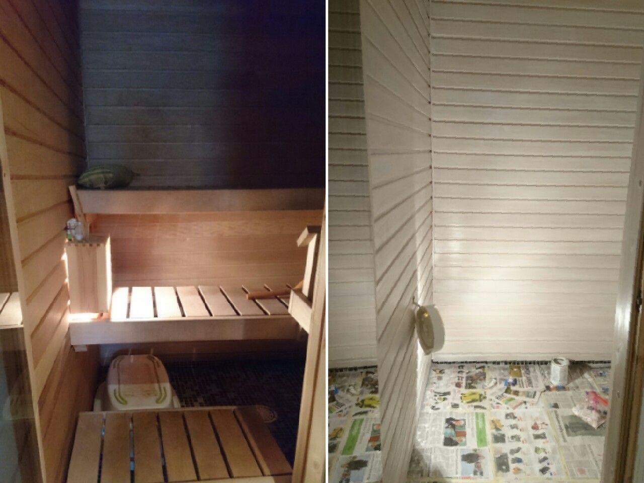 Sauna ennen käsittelyä ja käsittelyn jälkeen   White sauna before and after TIKKURILA SUPI SAUNAVAHA
