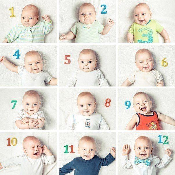 Идеи фото с новорожденными по месяцам