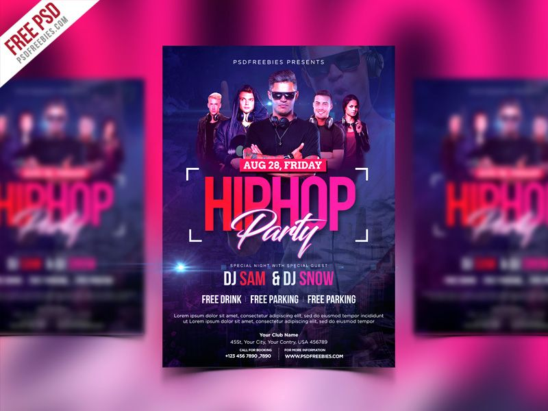 Hiphop Party Invitation Flyer Psd Template  Psd Templates Hiphop