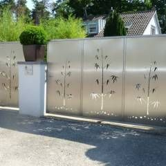 Edelstahl Einfahrtstore: moderner Garten von Edelstahl Atelier Crouse - Stainless Steel Atelier