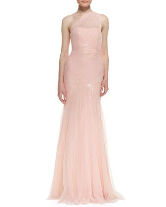 af87c87355f One-Shoulder Sequined-Lace Tulle-Overlay Gown by ML Monique Lhuillier at Neiman  Marcus. Under  1000.