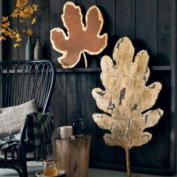 Des objets dorés à la feuille, feuilles d'automne / Gilded objects, Autumn leaves, decoration set