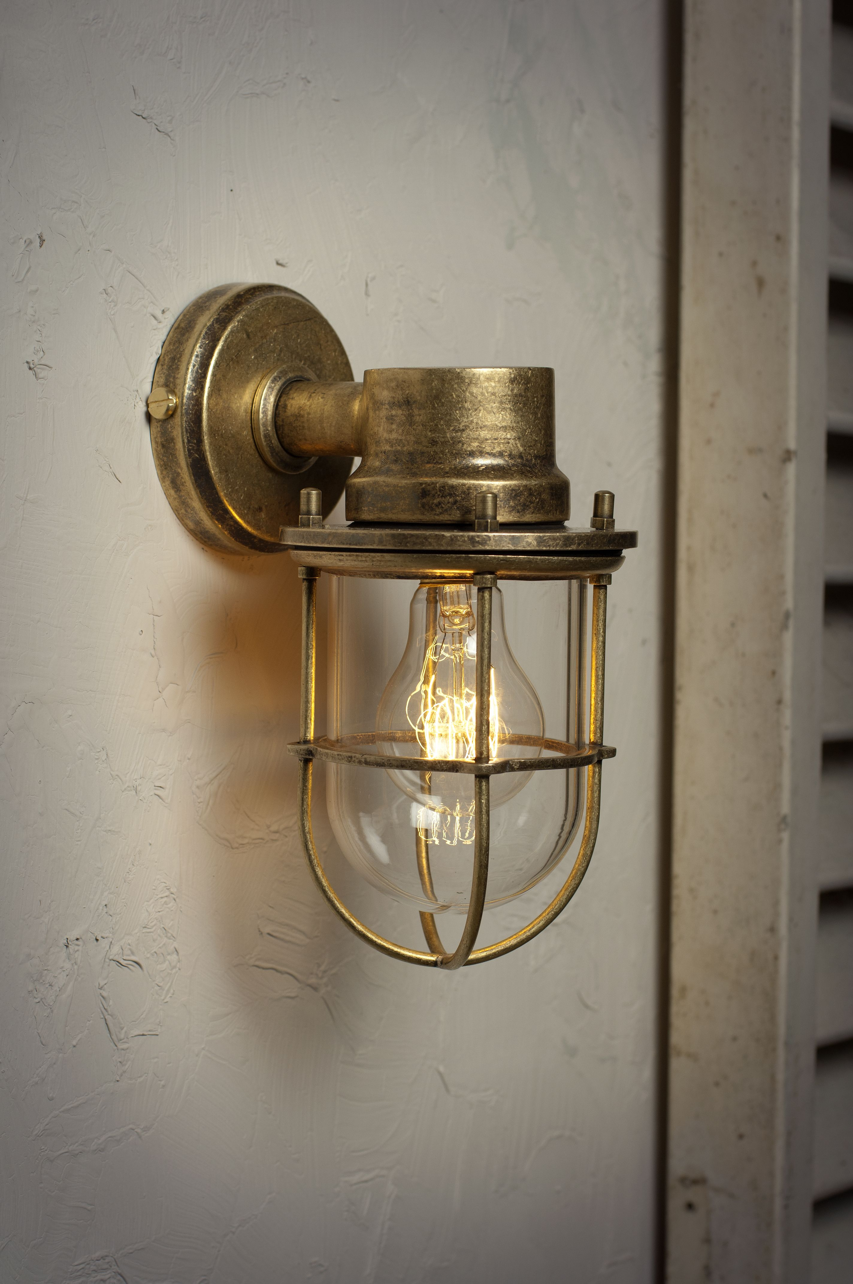The Ship's Outdoor Light in Antiqued Brass Wall lights