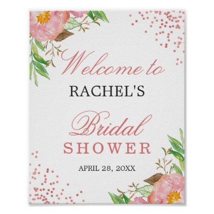 classy floral rose pink confetti bridal shower poster shower gifts diy customize creative