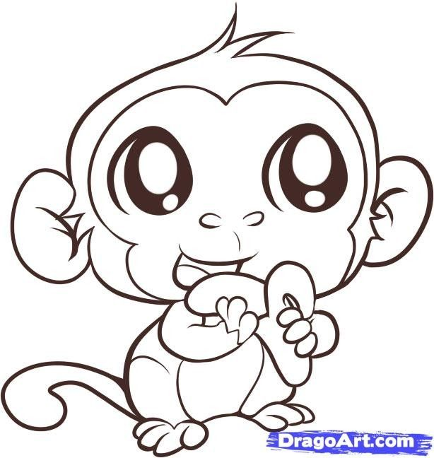 Coloring Pages Of Animals With Big Eyes : Cartoon baby monkey coloring pages enjoy