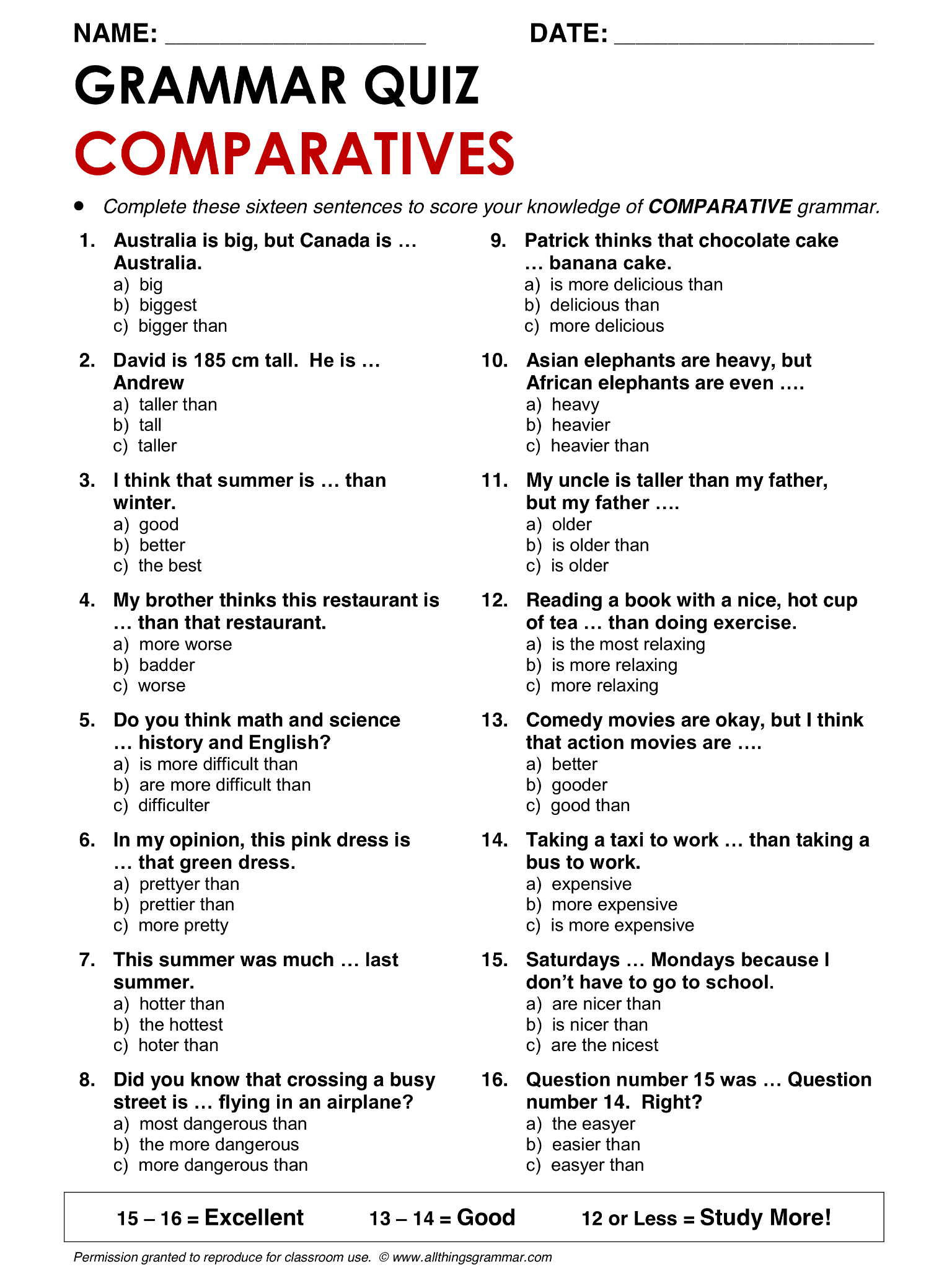 English Grammar Comparatives Lthingsgrammar