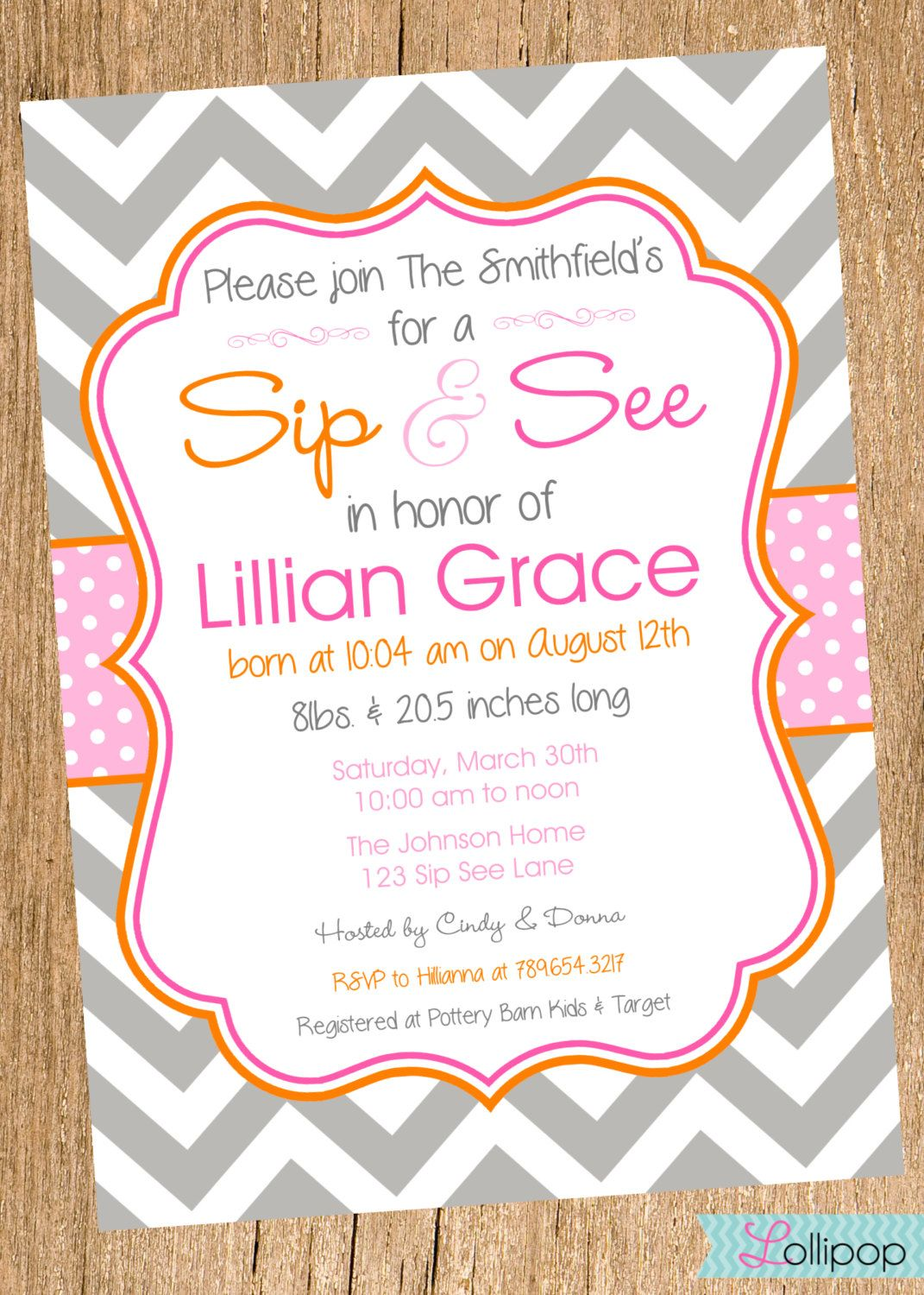 Sip And See Shower Printable Invitation