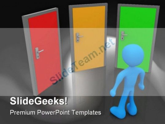 Front Of Three Doors Future PowerPoint Template 1110 #PowerPoint