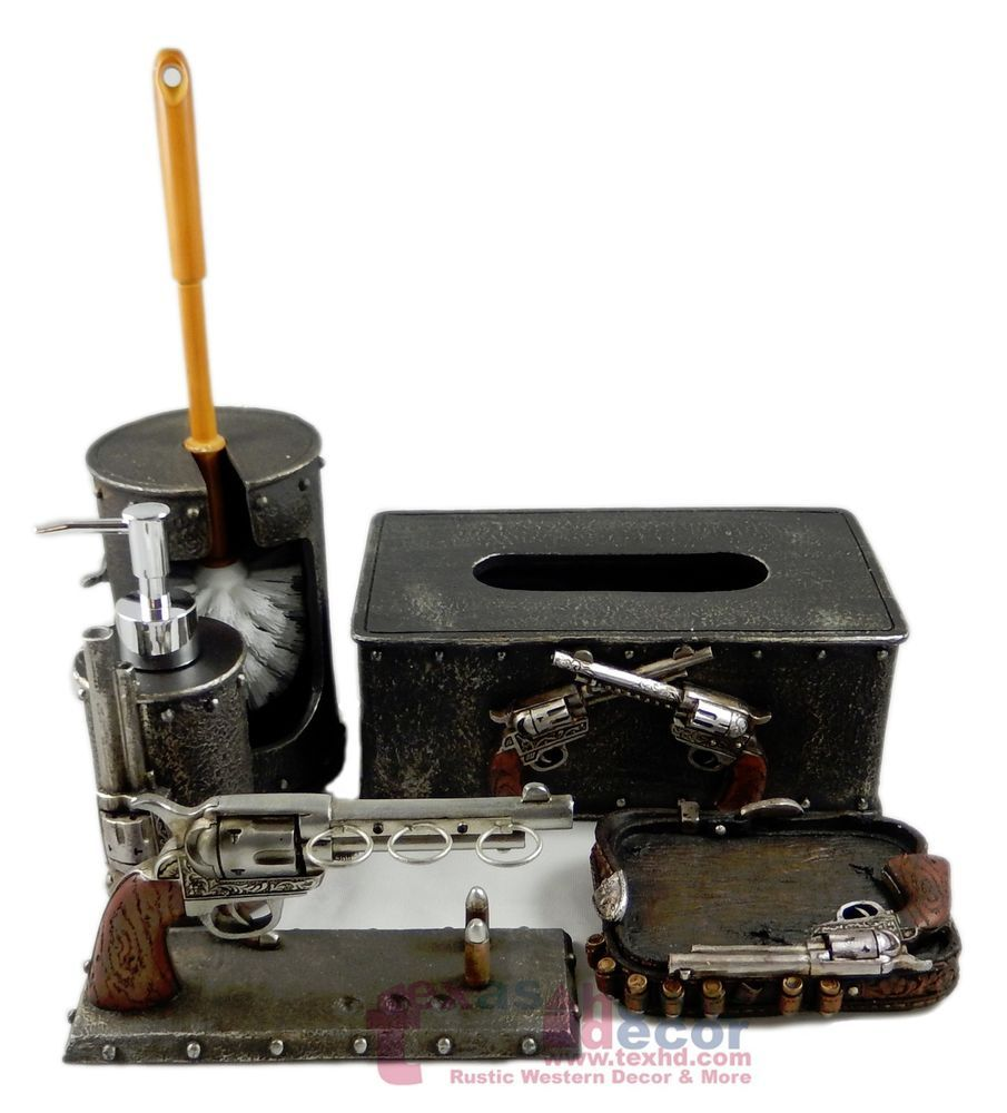 Western Pistol Gun Bathroom Accessory Set 5 Pieces Rustic Faux Metal ...