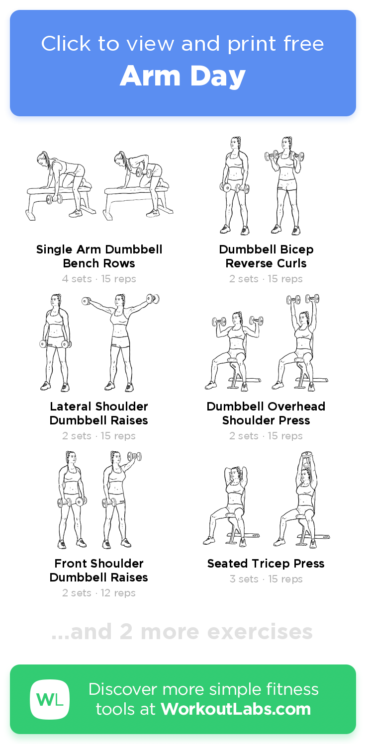 Arm Day Click To View And Print This Illustrated Exercise Plan Created With Workoutlabsfit Arm Day Workout Workout Labs Arm Workout Gym