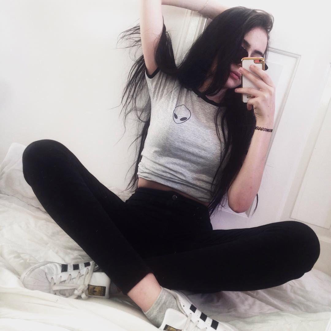 Black t shirt grunge - Alien Shirt Tumblr T Shirt Grunge Clothing Pocket Tee White Grey By Jollypearshop On Etsy