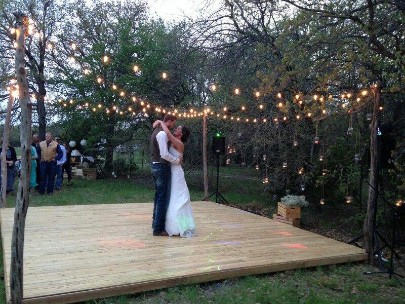 Rustic wooden dance floor made with cedar slats wedding for Outdoor dance floor ideas