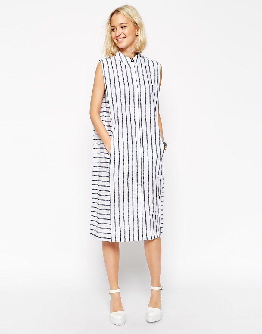 Image 1 ofASOS WHITE Crayon Stripe Sleeveless Shirt Dress
