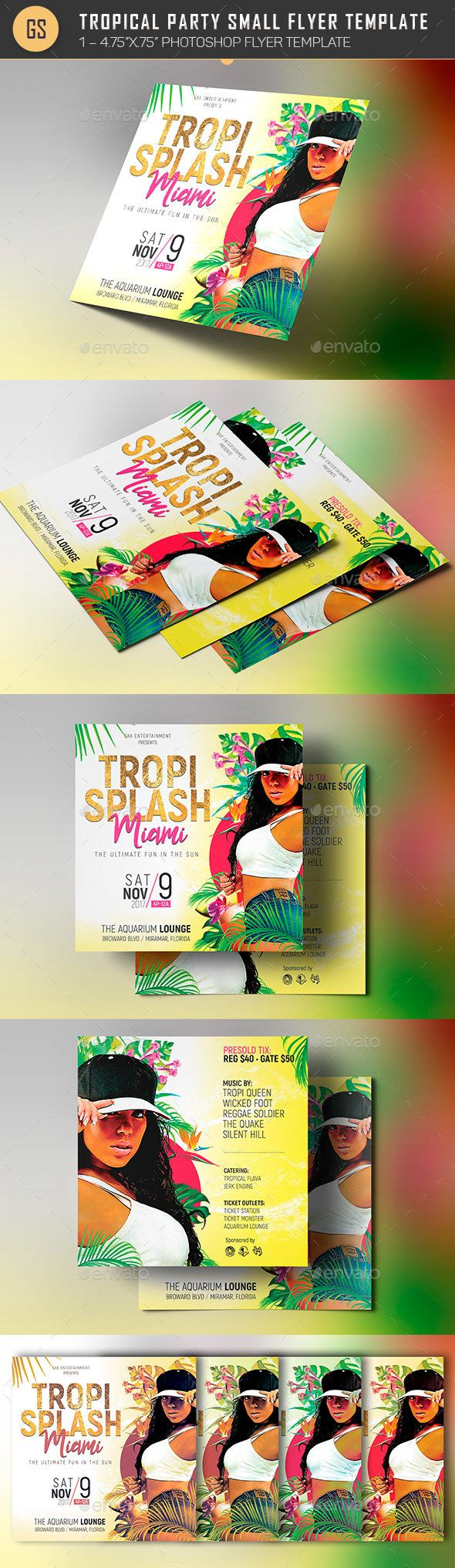 tropical party small flyer template tropical party flyer template