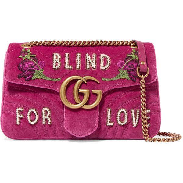 Gg Marmont Medium Embellished Quilted Velvet And Leather Shoulder Bag - Pink Gucci AYChwcxQ