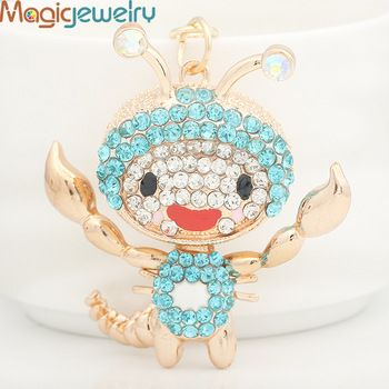 Creative Crystal Scorpion Key chains Ring Fashion Rhinestone Animal Metal Keychain Keyring