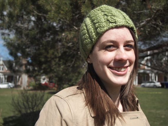 Bright Lime Green Knitted Ear Warmer Headband  by KnittingWriter, $25.00