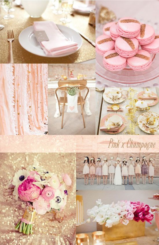 Wedding Inspiration Board Pink And Champage Theme