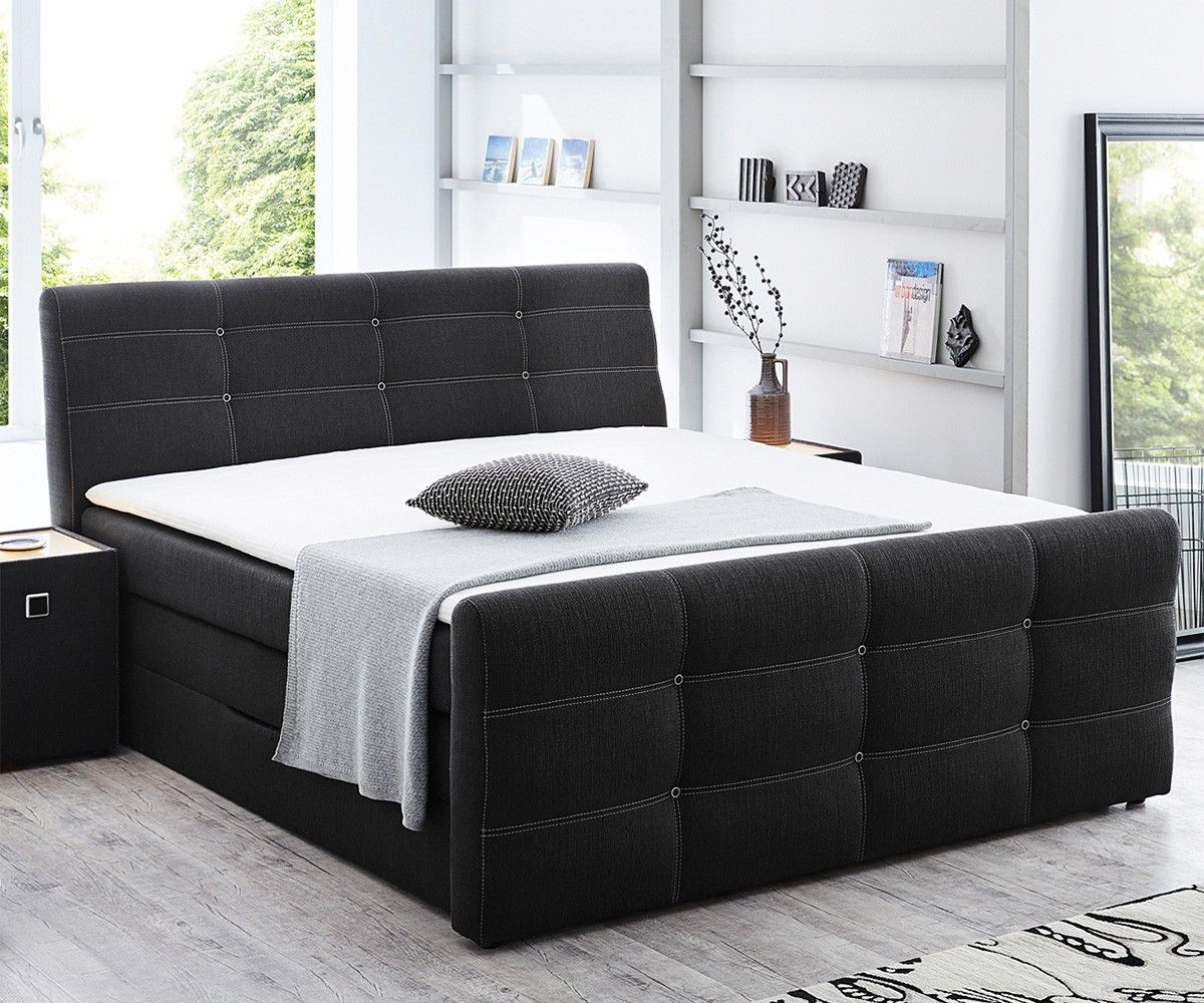 boxspringbett germana 180x200 dunkelgrau mit bettkasten delife deluxe beds pinterest. Black Bedroom Furniture Sets. Home Design Ideas