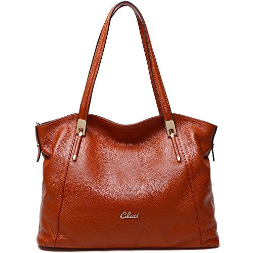 23f5baadb014 Cluci Leather Handbags Designer Tote Satchel Shoulder Bag Purse for Women  Brown   Read more reviews of the product by visiting the link on the image.