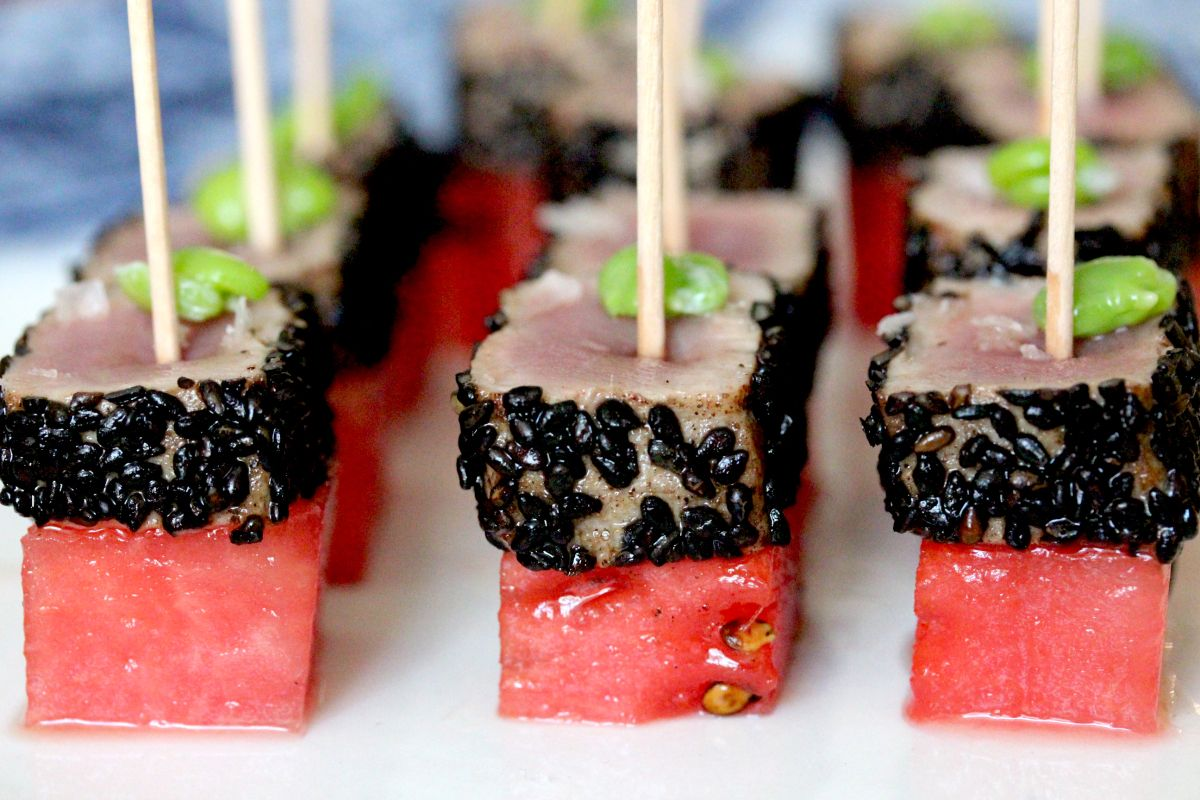 Tuna And Watermelon Soldiers Beef And Kimchi Filo Cups Canapes In The Evening Sun Canapes Kimchi Watermelon