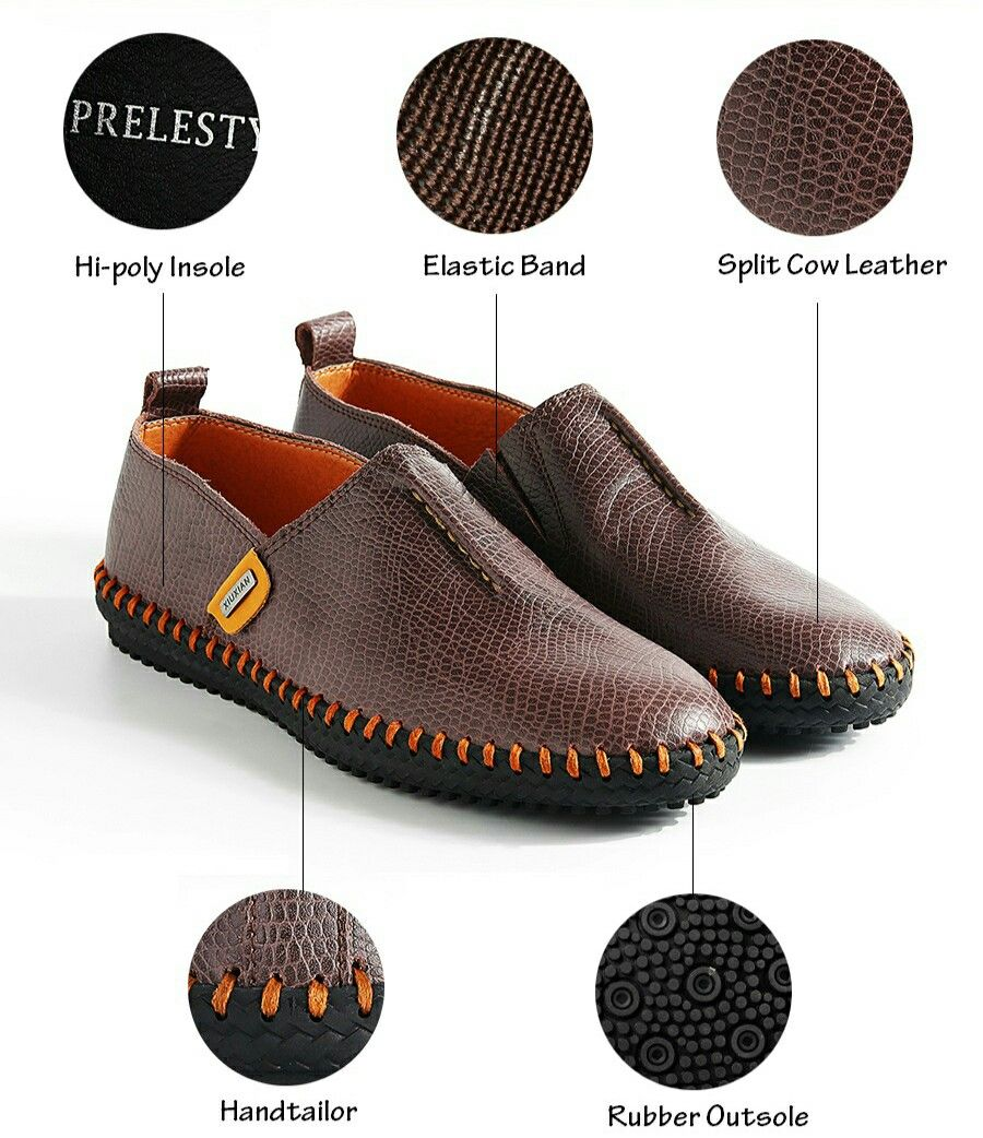 207112f1b79fa US $24.98 Prelesty Autumn Stylish High Quality Genuine Leather Men Loafers  Slip-On Casual Shoes
