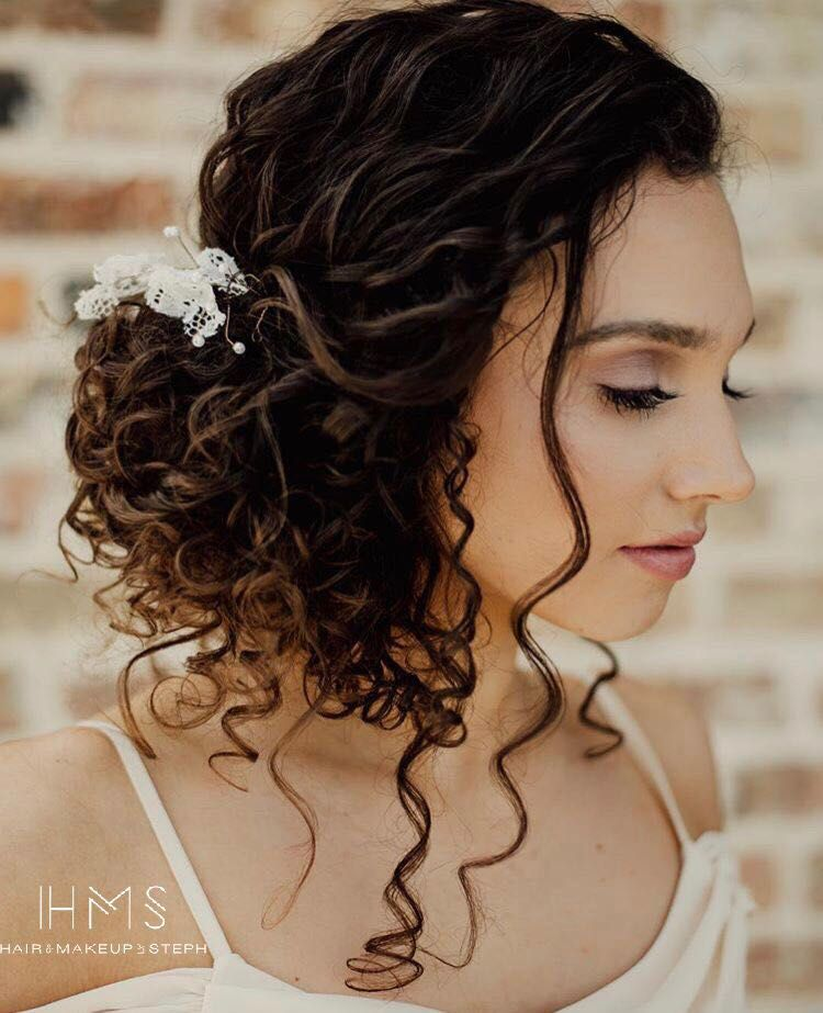 Natural Curls Updo Hair Wedding Bridal Bride Updo Romantic